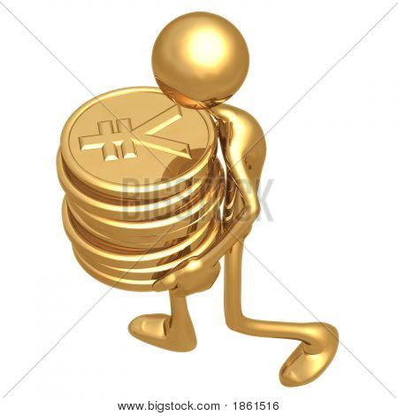Man Carrying A Stack Of Gold Coins In His Hands