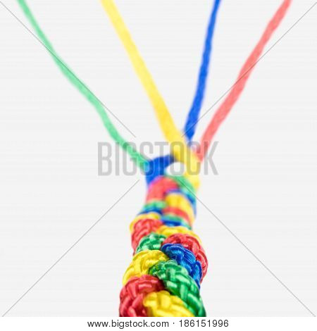 concept connection Teamwork and collaboration colorful ropes are connected