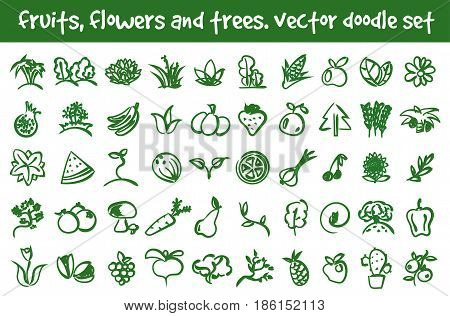 Vector doodle fruits flowers and trees icons set. Stock cartoon signs for design.