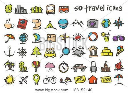 Vector doodle travel icons set. Stock cartoon signs for design.