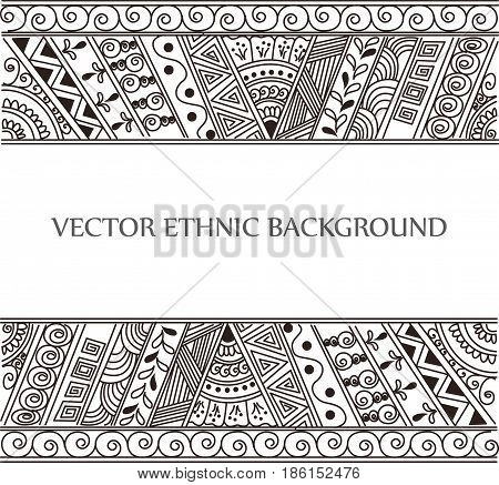 Vector abstract tattoo background. Isolated ethnic pattern for design.