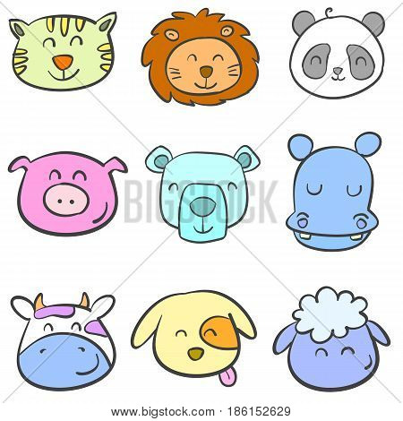 Doodle animal head colorful illustration collection stock