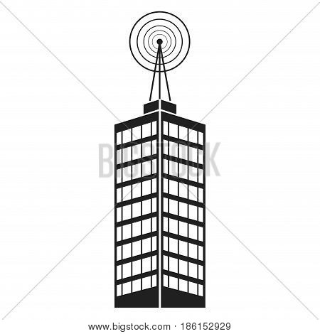 antenna on building city broadcast business vector illustration