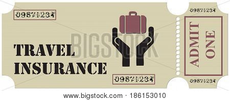 Ticket for travel insurance with a baggage security symbol