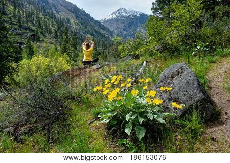 Woman meditating in nature. Alpine meadows in Cascade Mountains. Oregon. The United States.