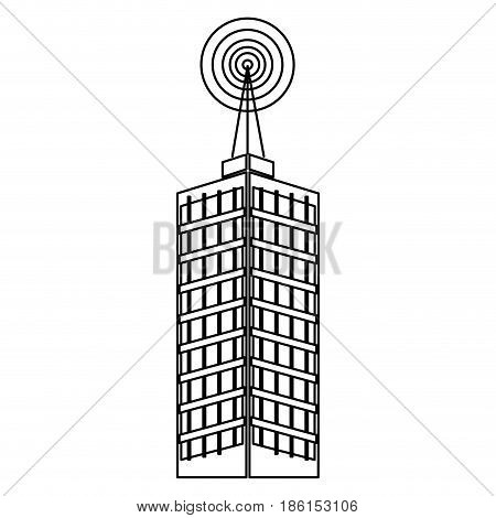 antenna, telecommunications tower on a roof, wireless communications concept. vector illustration