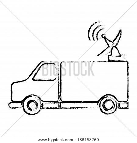truck antenna communication broadcast signal vector illustration
