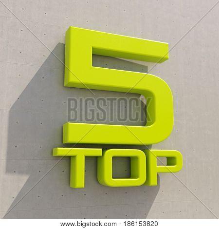 3d render: Top 5 Rating Sign