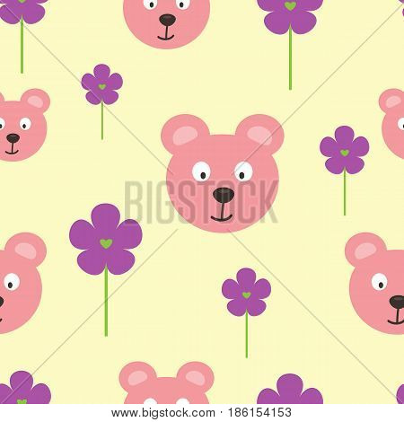 Repeated heads of funny bears and flowers with hearts. Cartoon seamless pattern. Vector illustration. Pink light yellow purple green. Template for the design of children's clothes and bed linen.