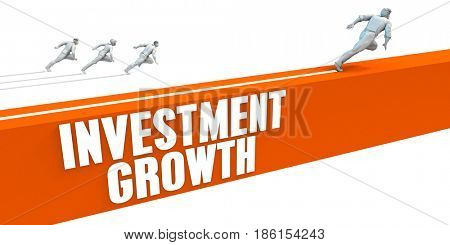 Investment Growth Express Lane with Business People Running 3D Illustration Render