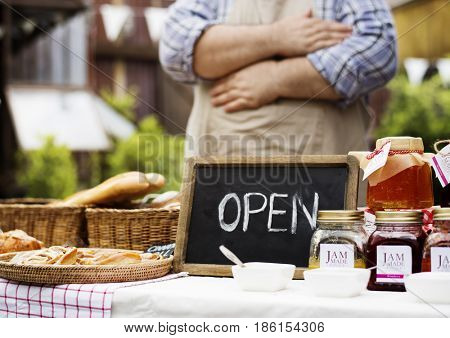 Patisserie Selling Bread and Homemade Jam at Food Stall
