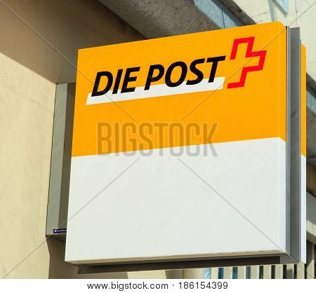 Einsiedeln, Switzerland - 7 September, 2015: sign on the wall of a Swiss Post office. Swiss Post is a public company, which provides the national postal service of Switzerland.