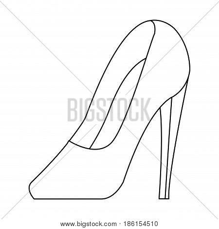 high heel shoe elegance fashion femenine outline vector illustration