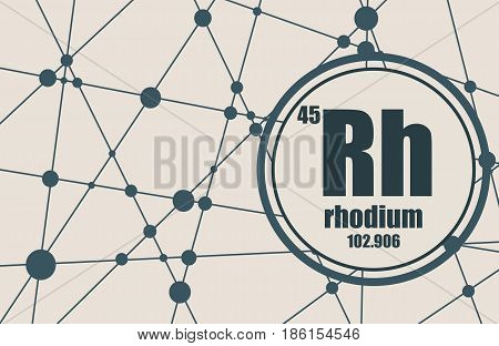 Rhodium chemical element. Sign with atomic number and atomic weight. Chemical element of periodic table. Molecule And Communication Background. Connected lines with dots.