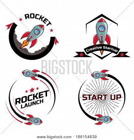 Set logo Space rocket ship flying on a white background