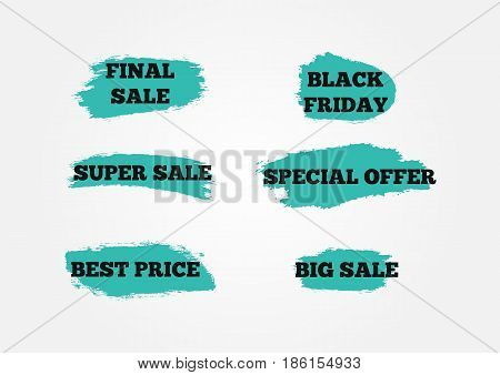 Set of stickers Final Big Super Sale Black Friday Special Offer Best Price. Background of blue brush strokes. Grunge. Vector illustration. Six isolated advertising signs.