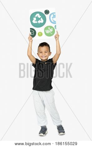 Little Boy with Recycle Sign Eco Friendly Save Earth Word Graphic