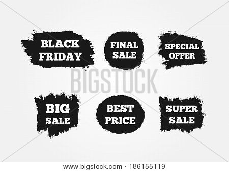 Stickers to attract customers. Super Big Final Sale Black Friday Best Price Special Offer. Painted with a watercolor brush. Grunge. Vector illustration. Set of six advertising signs.