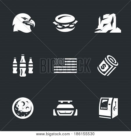 Eagle, food, canyon, soda, flag, dollar, moon, auto, ATM.