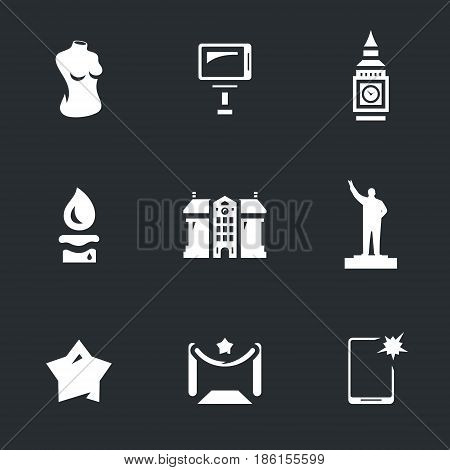 Body, selfie, tower, candle, museum, sculpture, star, entrance, smartphone.