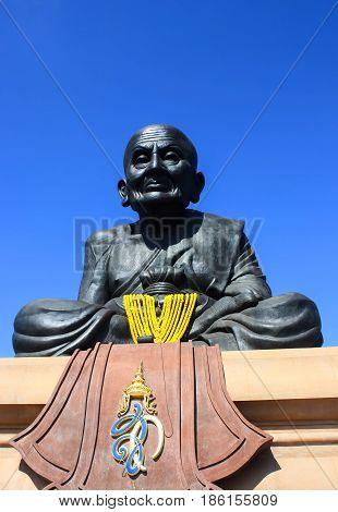 Close up Luang Phor Tuad Statue at Wat Huai Mongkhon Hua Hin