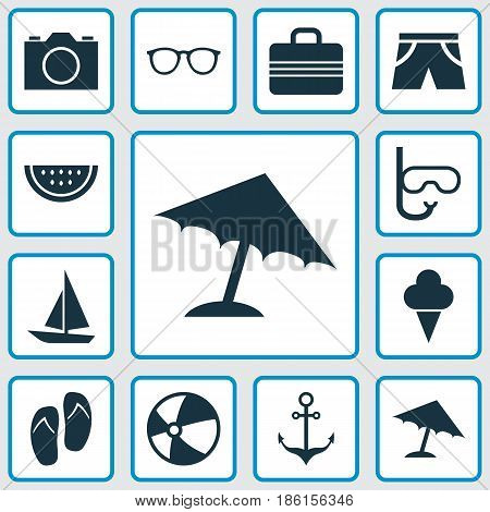 Season Icons Set. Collection Of Melon, Goggles, Parasol And Other Elements. Also Includes Symbols Such As Baggage, Valise, Sweets.