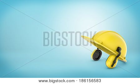 3d rendering of yellow construction workers hard hat with earmuffs on blue background. Building and renovation. Production line. Manual labor.