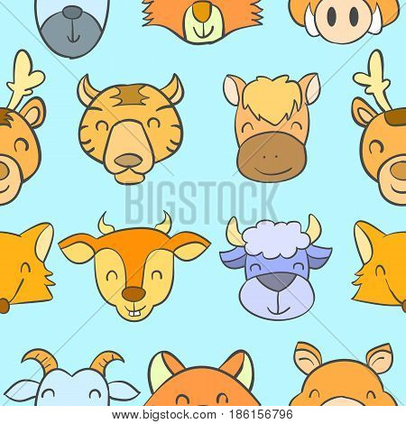Doodle stock with animal cute style vector illustration