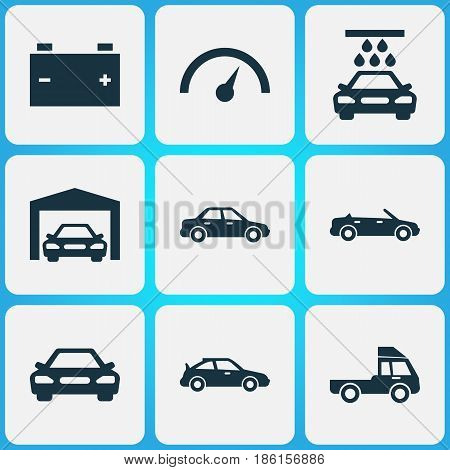 Automobile Icons Set. Collection Of Repairing, Accumulator, Chronometer And Other Elements. Also Includes Symbols Such As Car, Speedometer, Automobile.