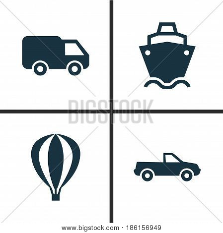 Shipment Icons Set. Collection Of Tanker, Airship, Truck And Other Elements. Also Includes Symbols Such As Van, Airship, Air.