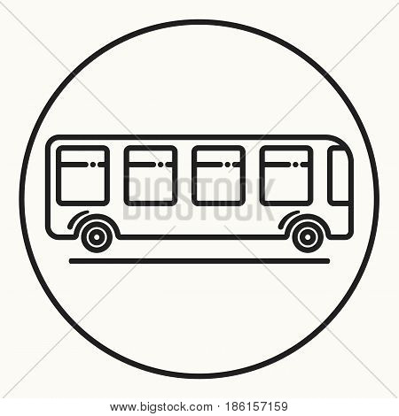 Minimal outline bus icon, vector shuttle sign