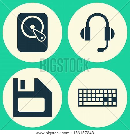 Laptop Icons Set. Collection Of Diskette, Hdd, Keypad And Other Elements. Also Includes Symbols Such As Floppy, Disk, Microphone.