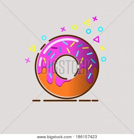 Donut delicious with sprinkles isolated on background. Donuts coffee donuts logo donut shop donut sweet donut isolated donut food.