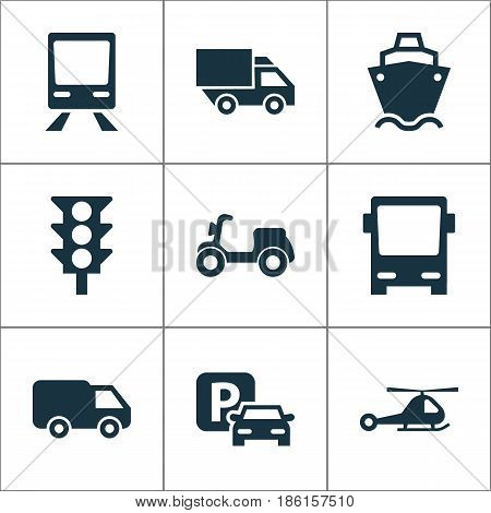 Shipment Icons Set. Collection Of Tanker, Omnibus, Truck And Other Elements. Also Includes Symbols Such As Train, Traffic, Stoplight.