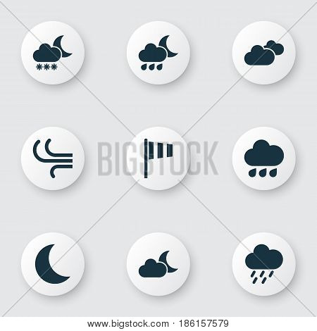 Climate Icons Set. Collection Of Flag, Weather, Douche And Other Elements. Also Includes Symbols Such As Vane, Weather, Shower.
