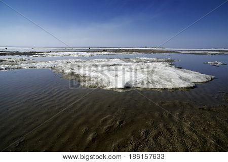 Spring landscape. Snow melting. Ob reservoir, Siberia Novosibirsk region