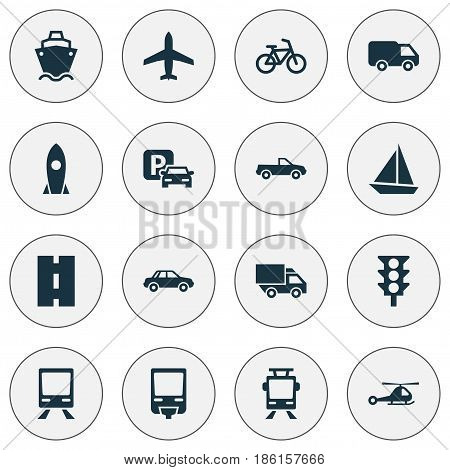Transport Icons Set. Collection Of Spaceship, Railway, Way And Other Elements. Also Includes Symbols Such As Bike, Chopper, Traffic.