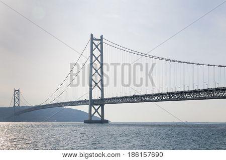 Akashi Kaikyo stell suspension Bridge Kobe Japan longest suspension bridge