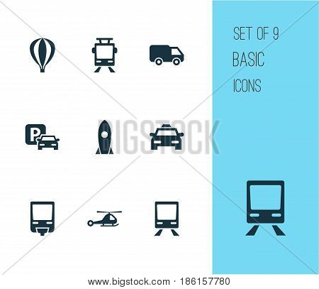 Transportation Icons Set. Collection Of Railway, Cab, Chopper And Other Elements. Also Includes Symbols Such As Flight, Airplane, Helicopter.