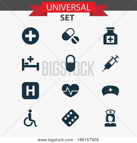 Medicine Icons Set. Collection Of Plus, Injection, Handicapped Elements. Also Includes Symbols Such As Medicament, Reliever, Instrument.