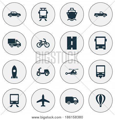 Transportation Icons Set. Collection Of Truck, Skooter, Bicycle And Other Elements. Also Includes Symbols Such As Auto, Helicopter, Velocipede.