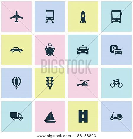 Transport Icons Set. Collection Of Bicycle, Stoplight, Road Sign And Other Elements. Also Includes Symbols Such As Way, Car, Omnibus.