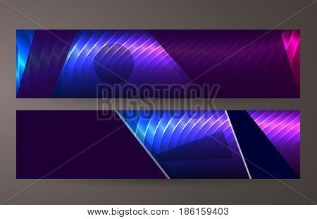 Horizontal Web Banner Background Blue Purple Neon Effect10
