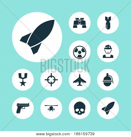 Battle Icons Set. Collection Of Dangerous, Bombshell, Glass And Other Elements. Also Includes Symbols Such As Zoom, Bomber, Sniper.