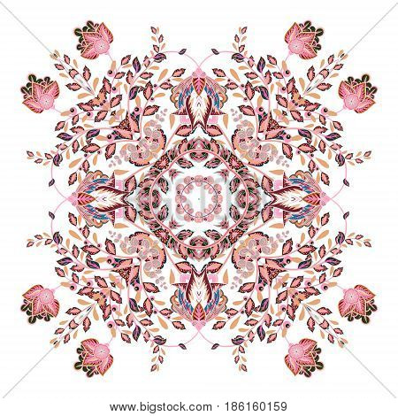 Colorful ornamental floral paisley shawl, bandanna, pillow, scarf. Square pattern. Detailed floral scarf design. Pastel pink eastern ornament on white background. Batik