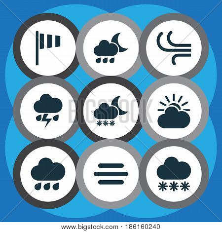 Weather Icons Set. Collection Of Haze, Nightly, Flash And Other Elements. Also Includes Symbols Such As Night, Wind, Weather.