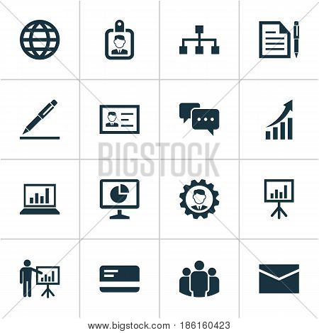 Job Icons Set. Collection Of Chatting, Statistics, Earth And Other Elements. Also Includes Symbols Such As Contract, Bank, Screen.