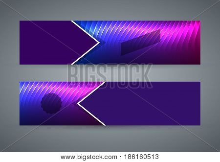 Horizontal Web Banner Background Blue Purple Neon Effect13