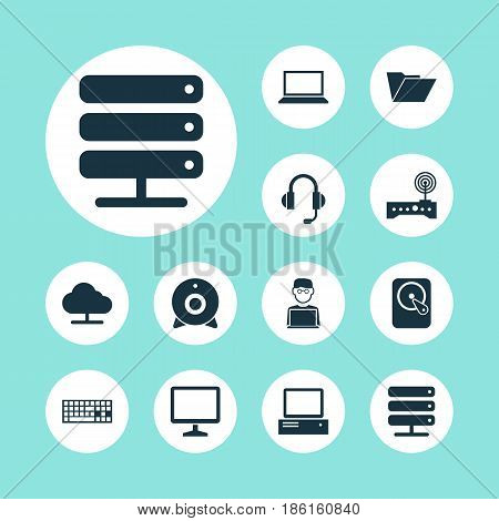 Laptop Icons Set. Collection Of Database, Dossier, Router And Other Elements. Also Includes Symbols Such As Hdd, Folder, Laptop.