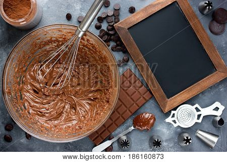 Delicious chocolate frosting for decoration confectionery cake and cupcakes